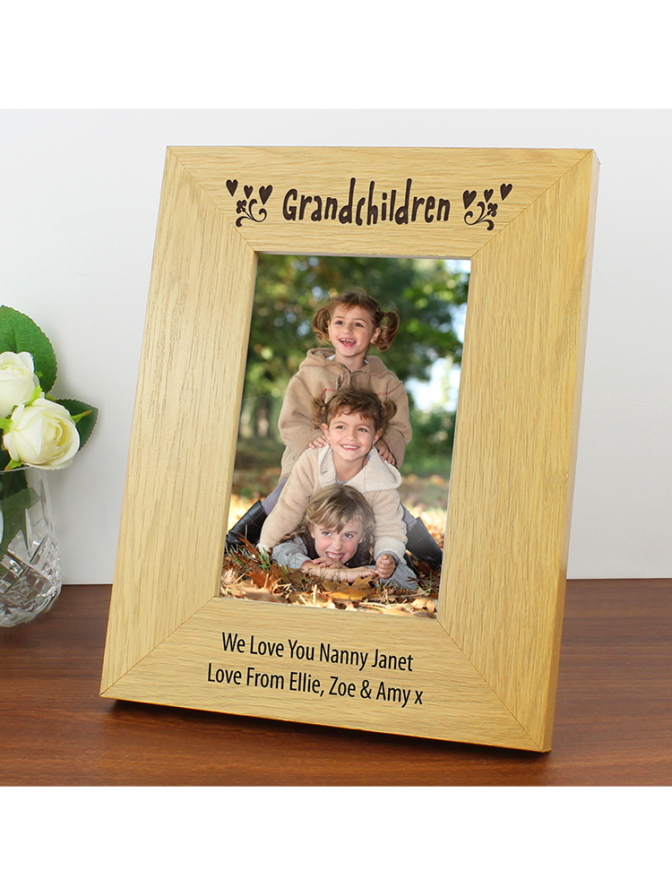 Personalised Oak Finish 6x4 Grandchildren Photo Frame