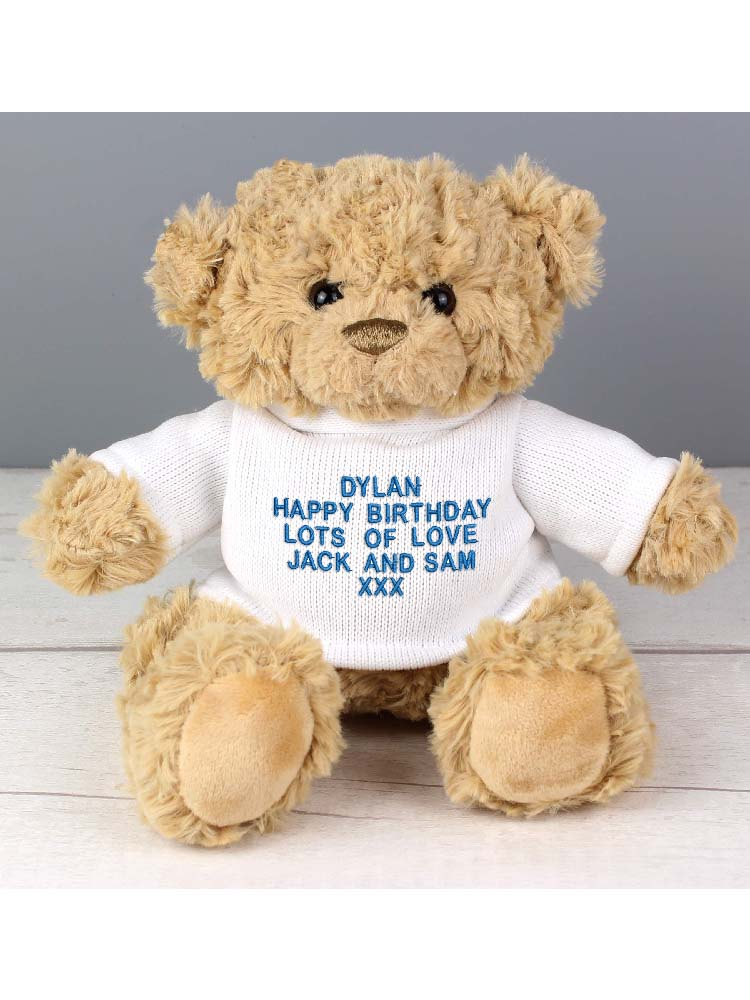 Personalised Message Teddy Bear - Blue Embroidery