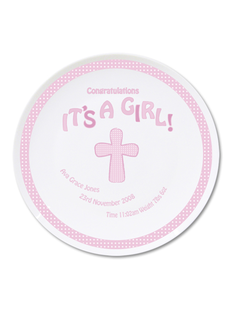 Personalised Cross Its a Girl Plate