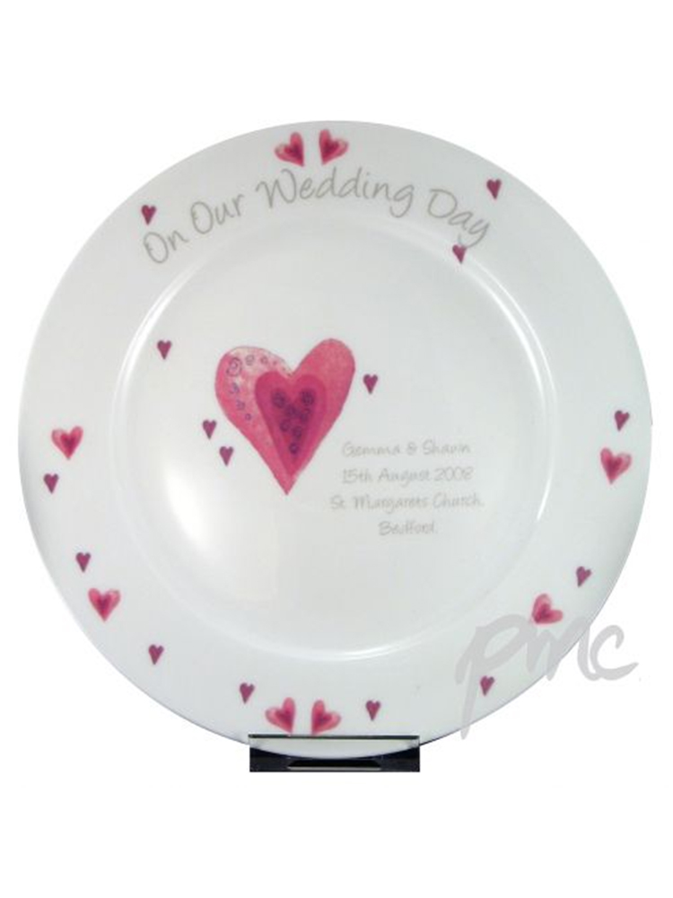Personalised Heart Wedding Plate