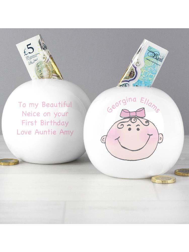 Personalised Baby Girl Money Box