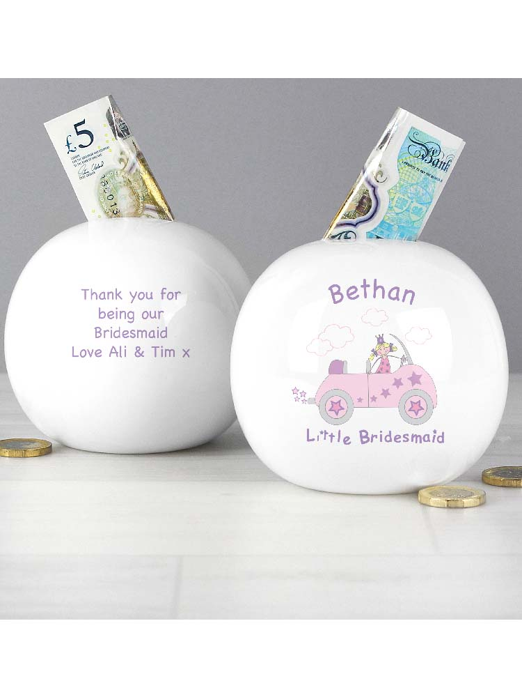 Personalised Little Bridesmaid in Car Money Box