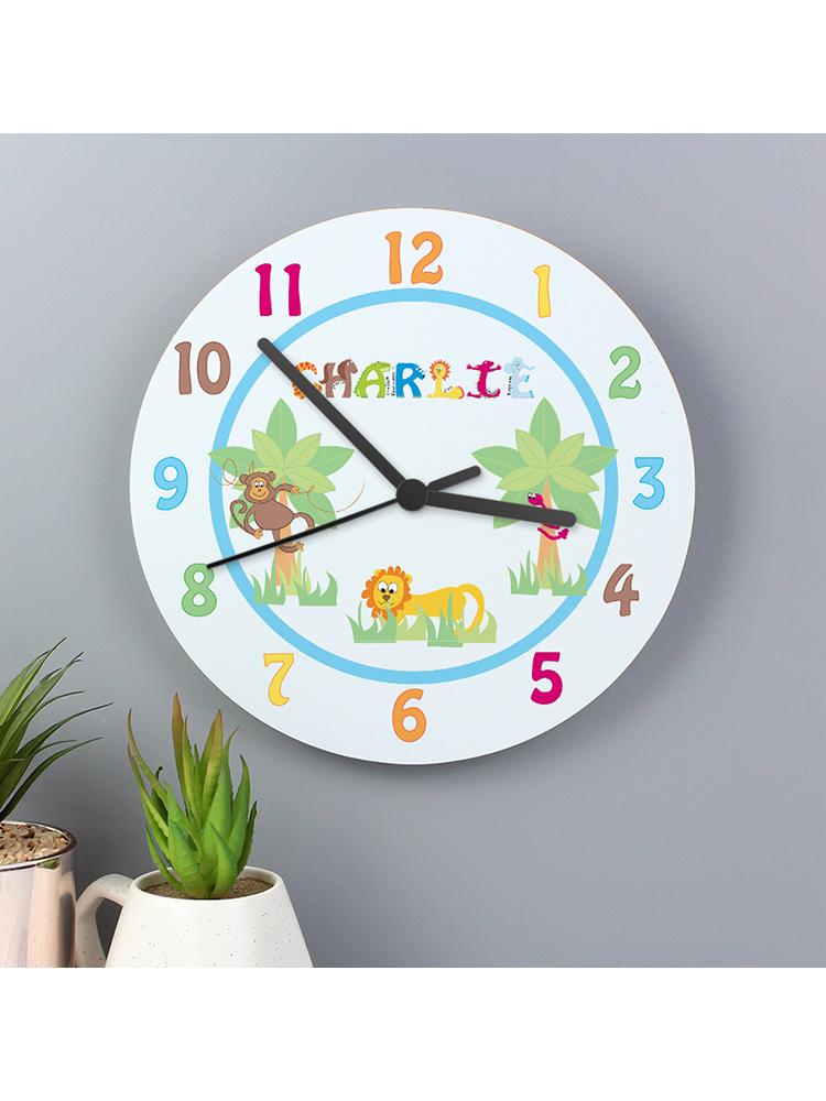 Personalised Blue Animal Alphabet Clock