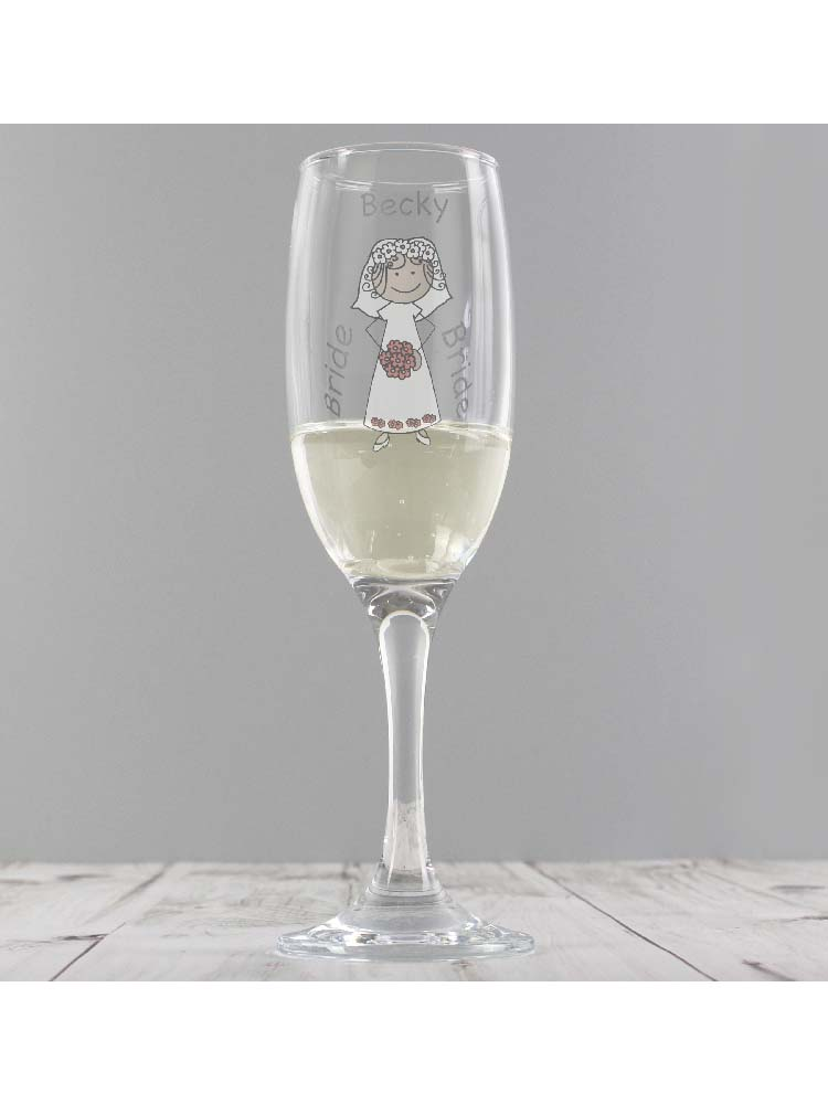 Personalised Cartoon Wedding Flute Glass