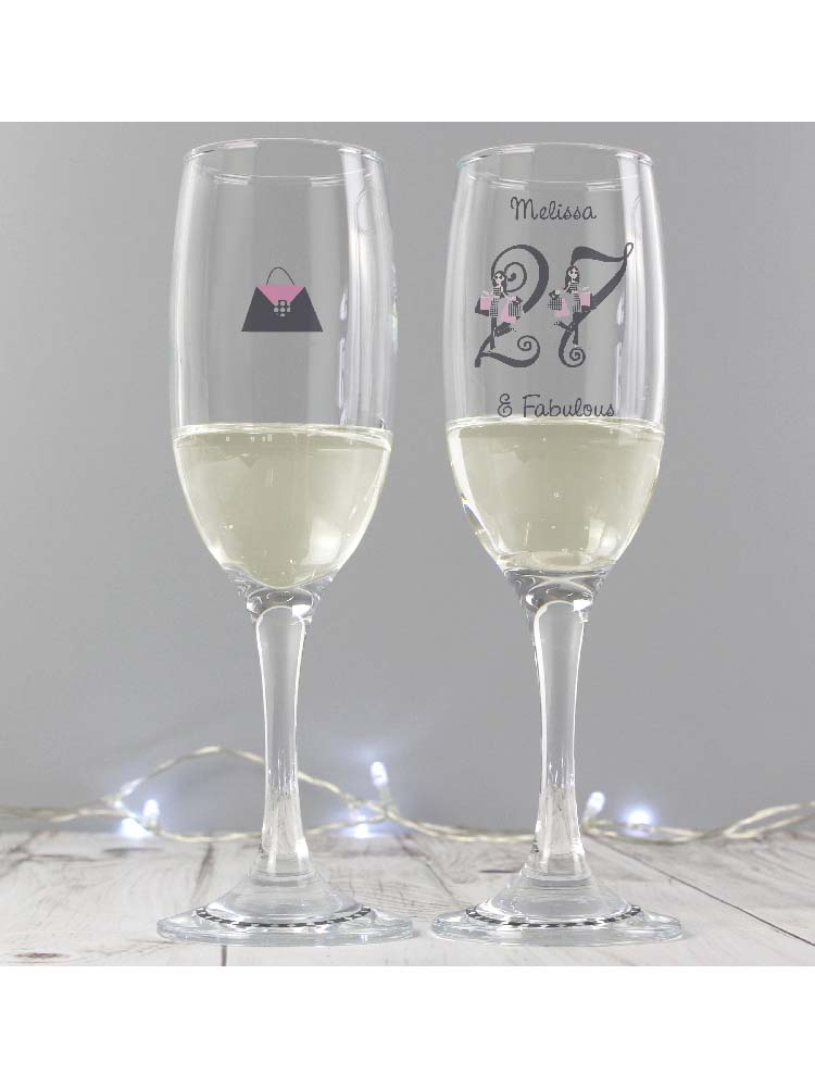 Personalised Fabulous Numbers Tall Flute