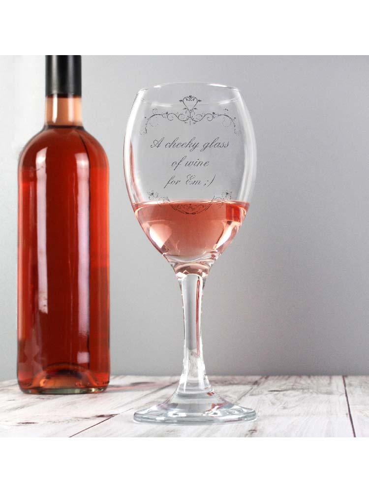 Personalised Ornate Swirl Wine Glass
