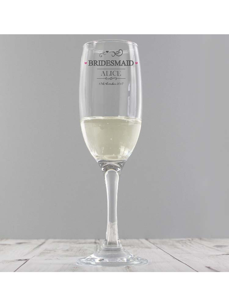 Personalised Mr & Mrs Bridesmaid Glass Flute