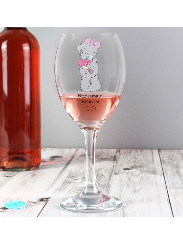 Personalised Me To You Wedding Glass