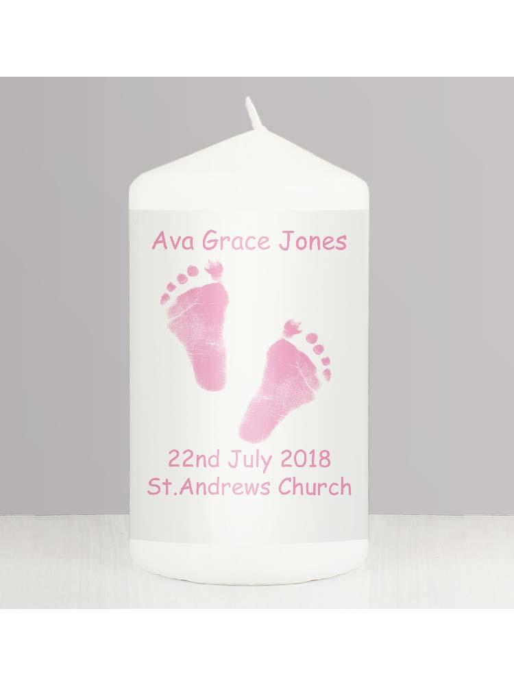 Personalised Pink Footprints Candle