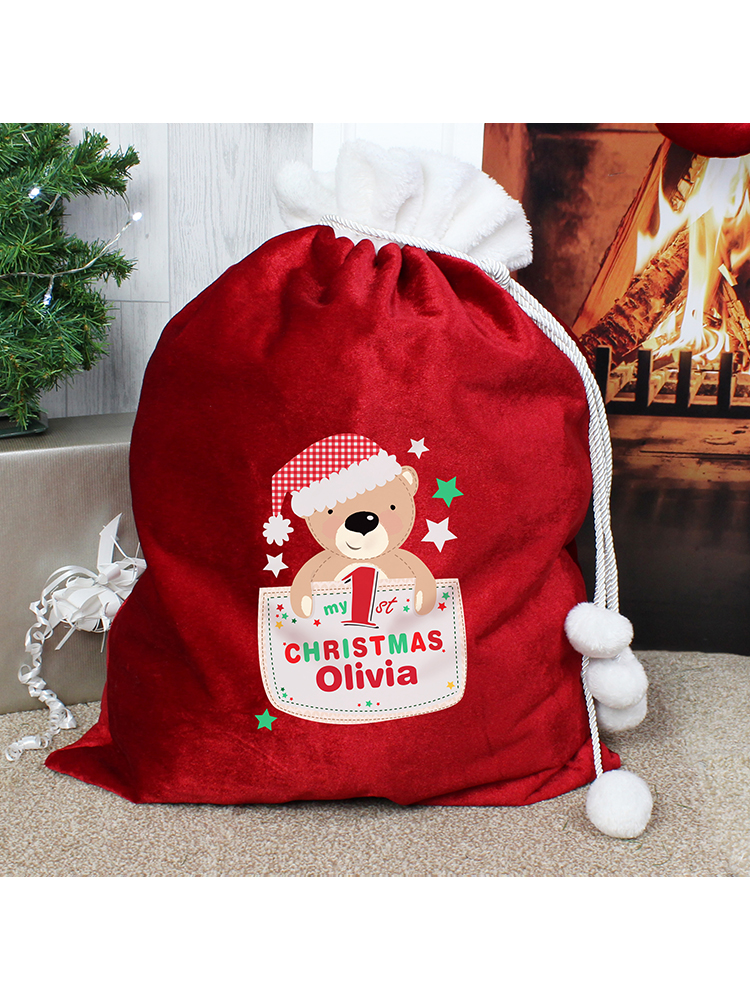 Personalised Pocket Teddy My 1st Christmas Luxury Pom Pom Sack