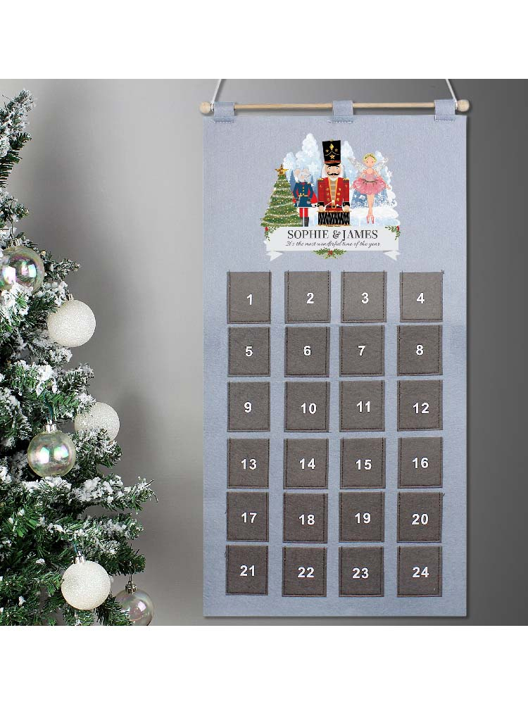 Personalised Nutcracker Advent Calendar In Silver Grey