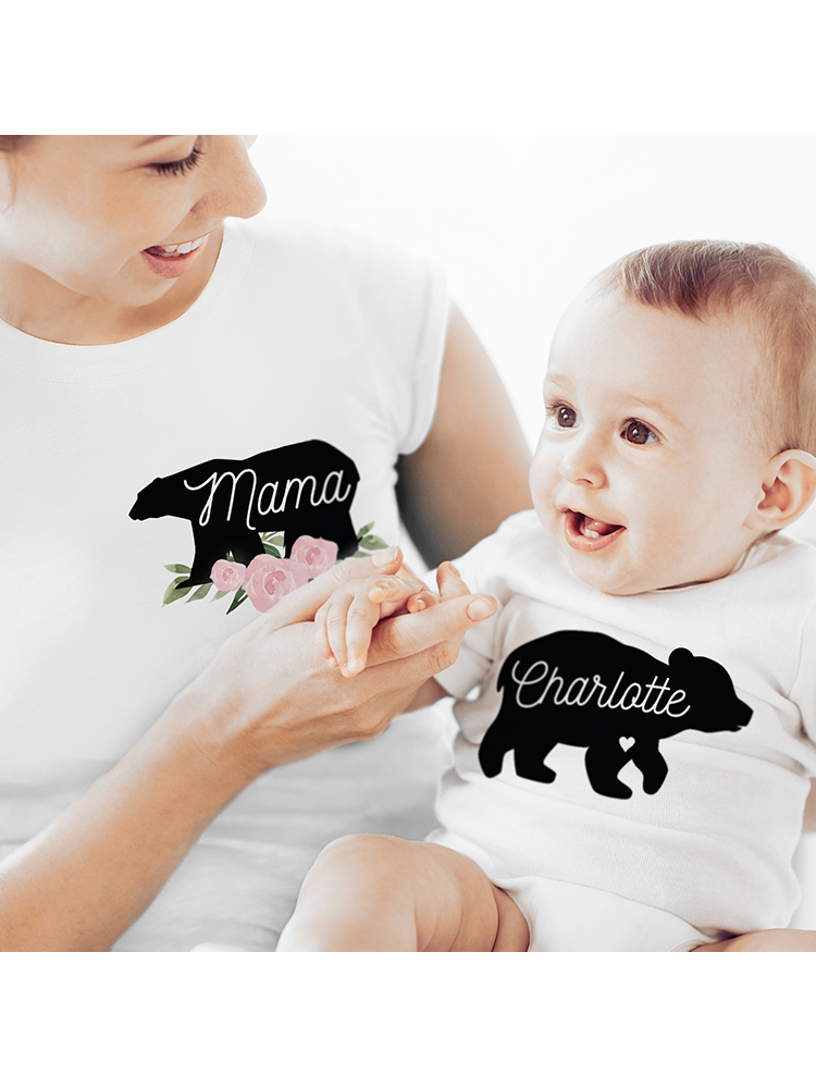 Personalised Mother & Baby Mama Bear T-Shirt And Vest Set (Medium & 0-3mths)
