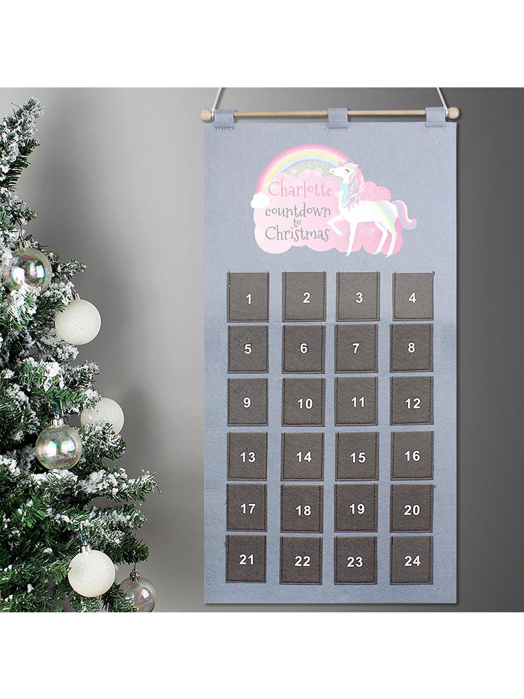 Personalised Christmas Unicorn Advent Calendar In Silver Grey