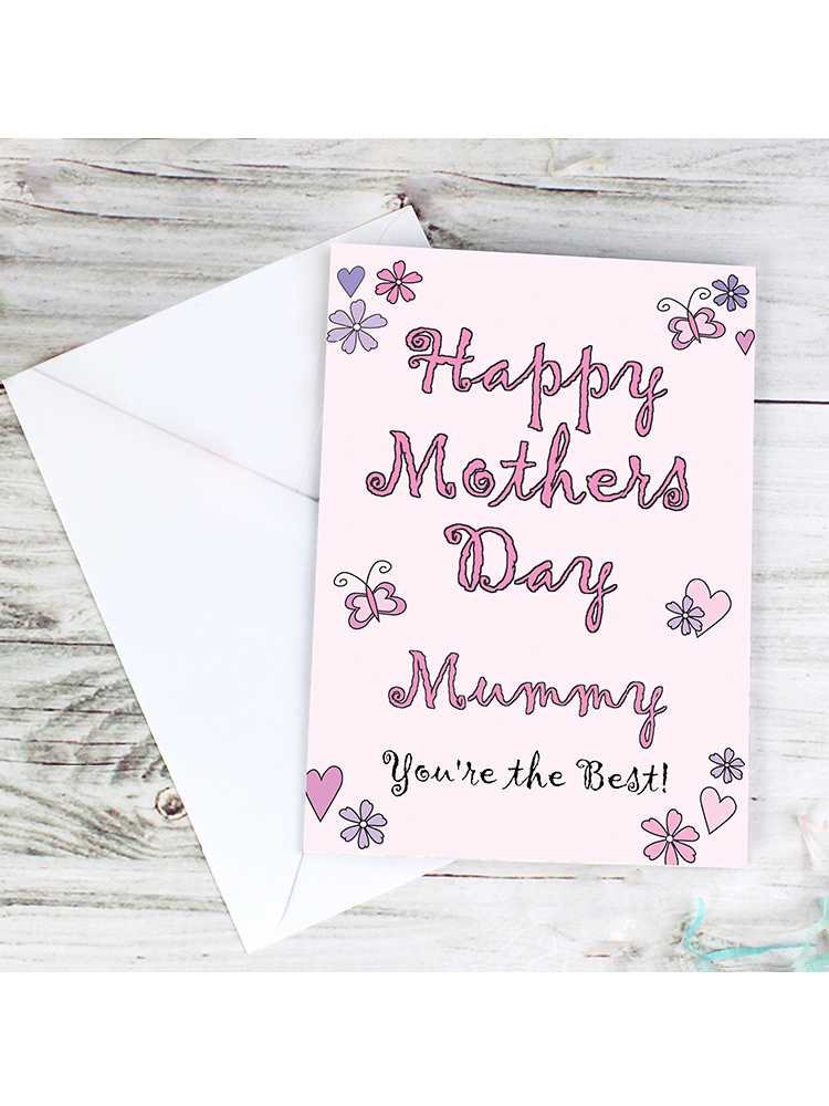 Personalised Flowers and Butterflies Happy Mothers Day Card