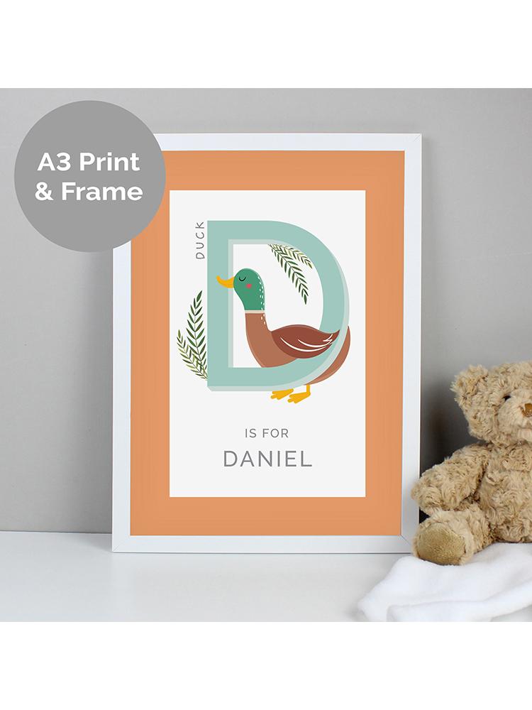 Personalised Animal Alphabet A3 White Framed Print