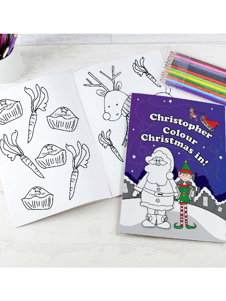 Personalised 'It's Christmas' Elf Colouring Book with Pencil Crayons