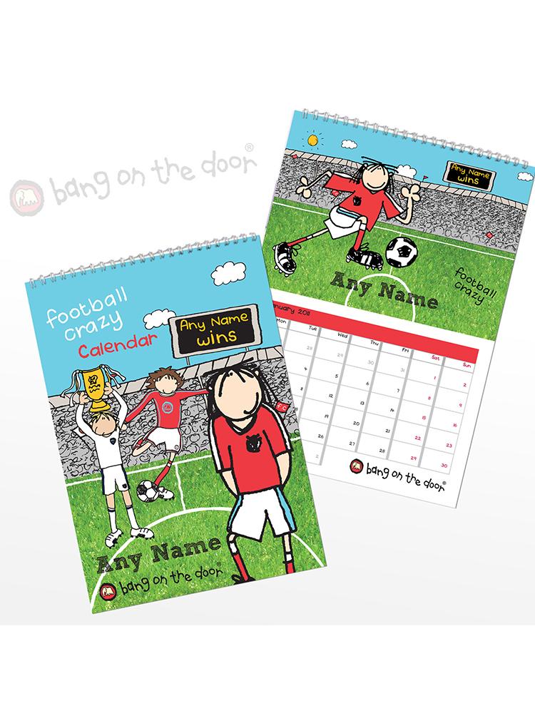 Personalised Football Crazy A4 Wall Calendar