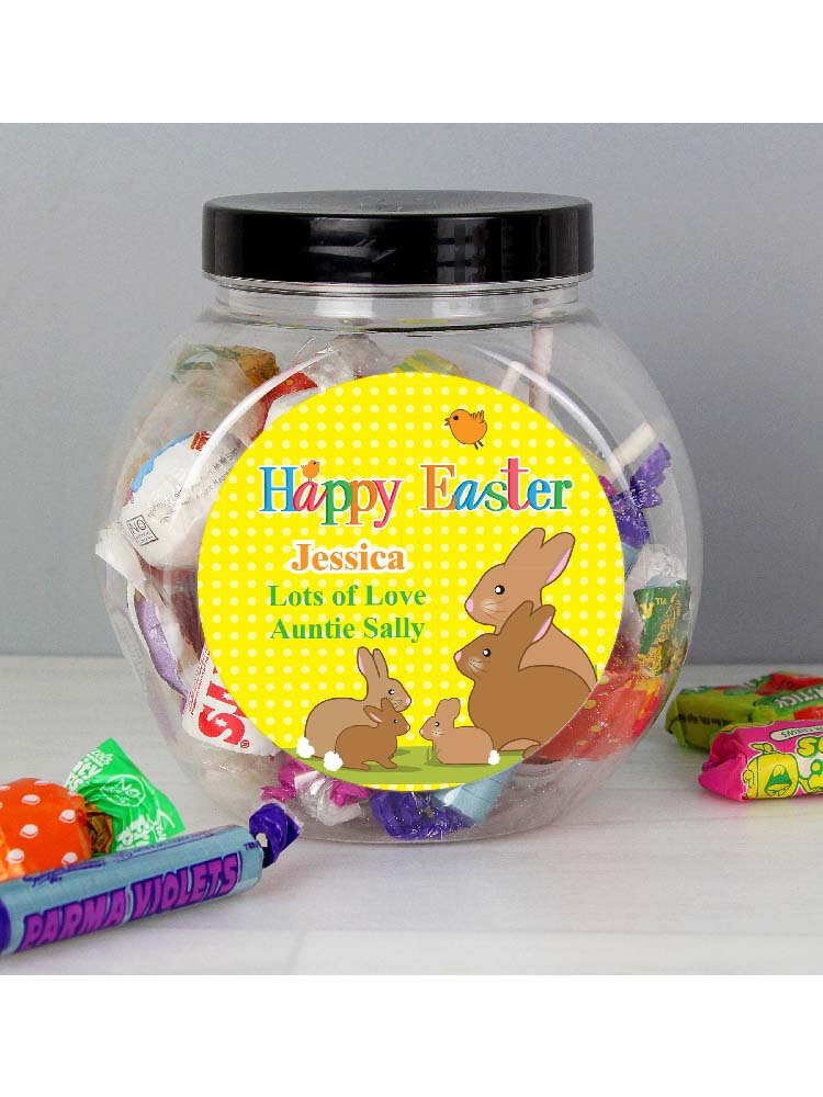Personalised Easter Bunny Sweet Jar