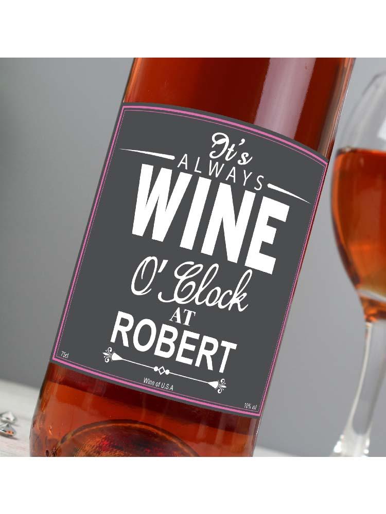 Personalised Wine O'Clock Rose Wine