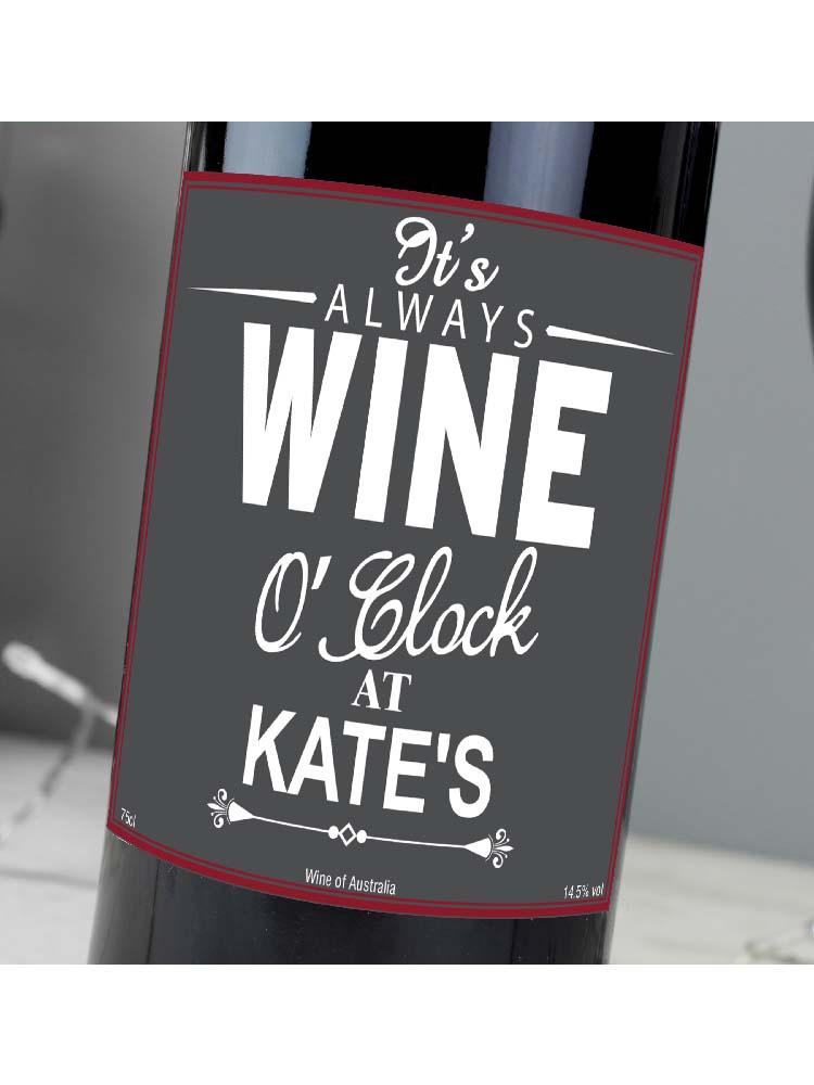 Personalised Wine O'Clock Red Wine