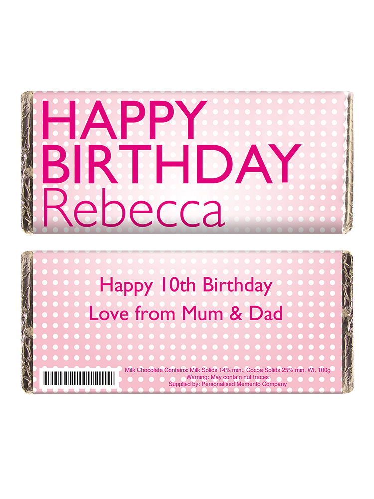 Personalised Happy Birthday Pink Dots Milk Chocolate Bar