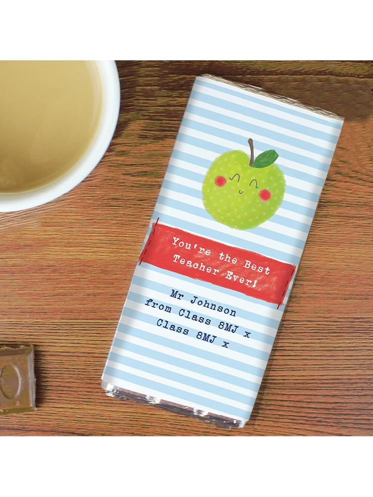 Personalised Apple for the Teacher Milk Chocolate Bar