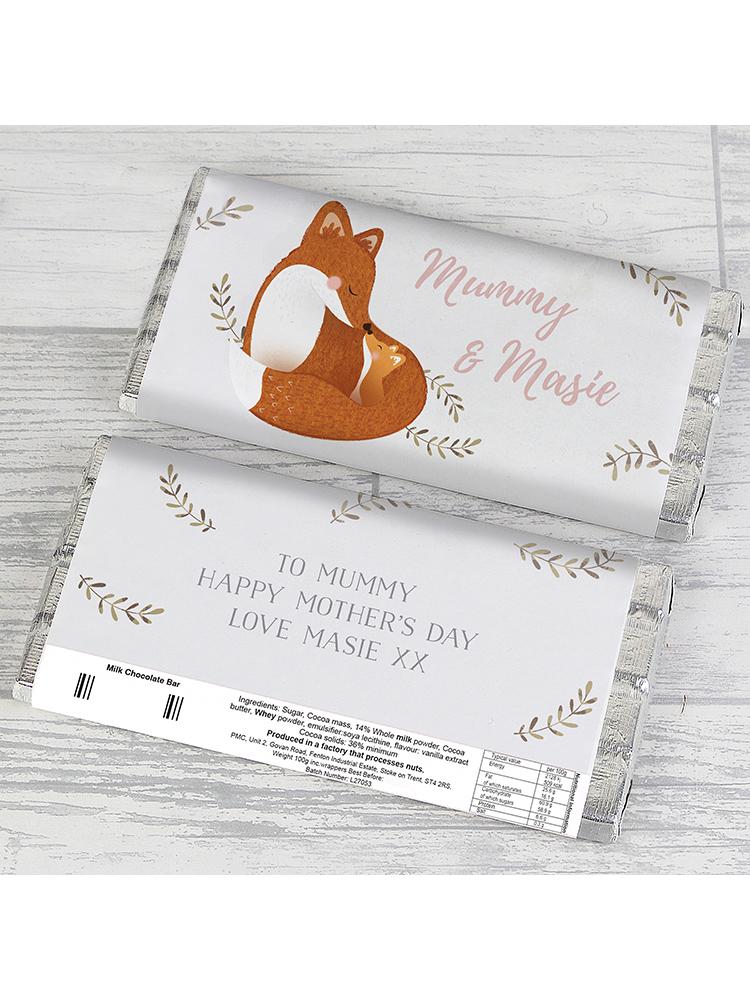 Personalised Mummy and Me Fox Chocolate Bar