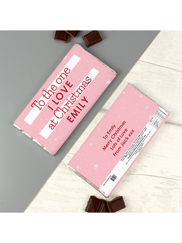 Personalised Pink Christmas Milk Chocolate Bar
