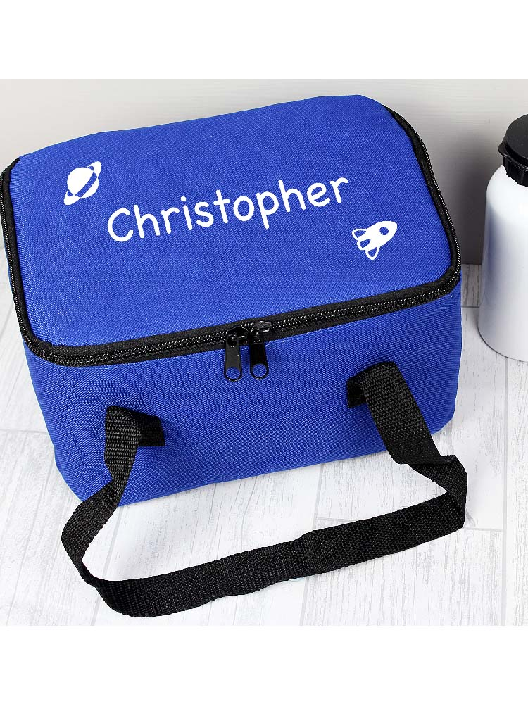 Personalised White Rocket Lunch Bag