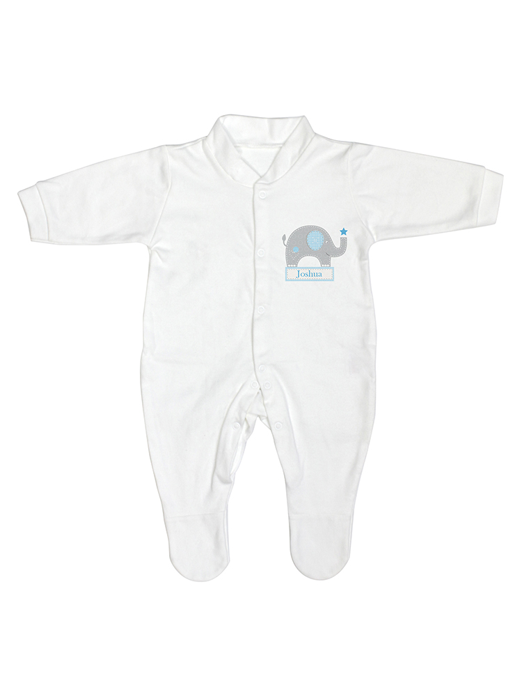 Personalised Blue Elephant 0-3 Months Babygrow