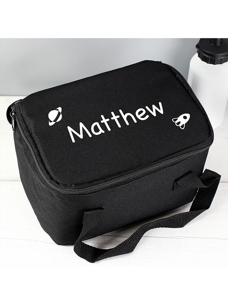 Personalised White Rocket Black Lunch Bag