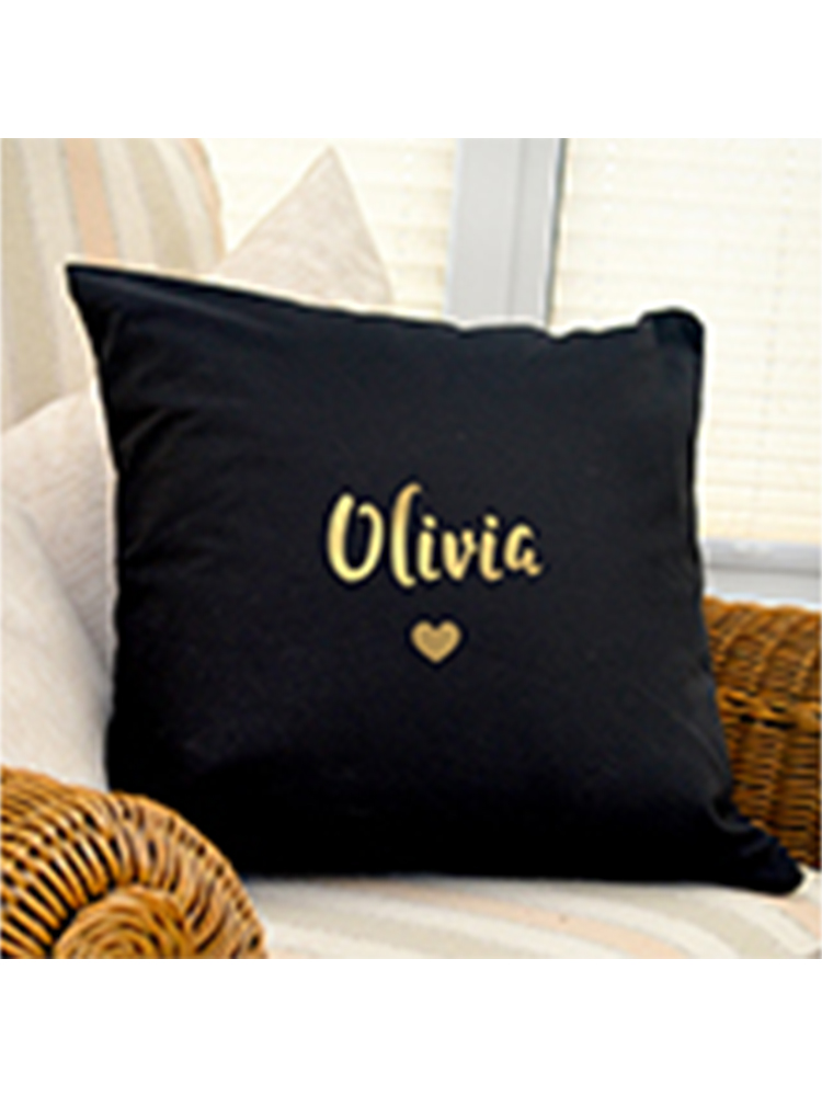 Personalised Gold Name Black Cushion Cover