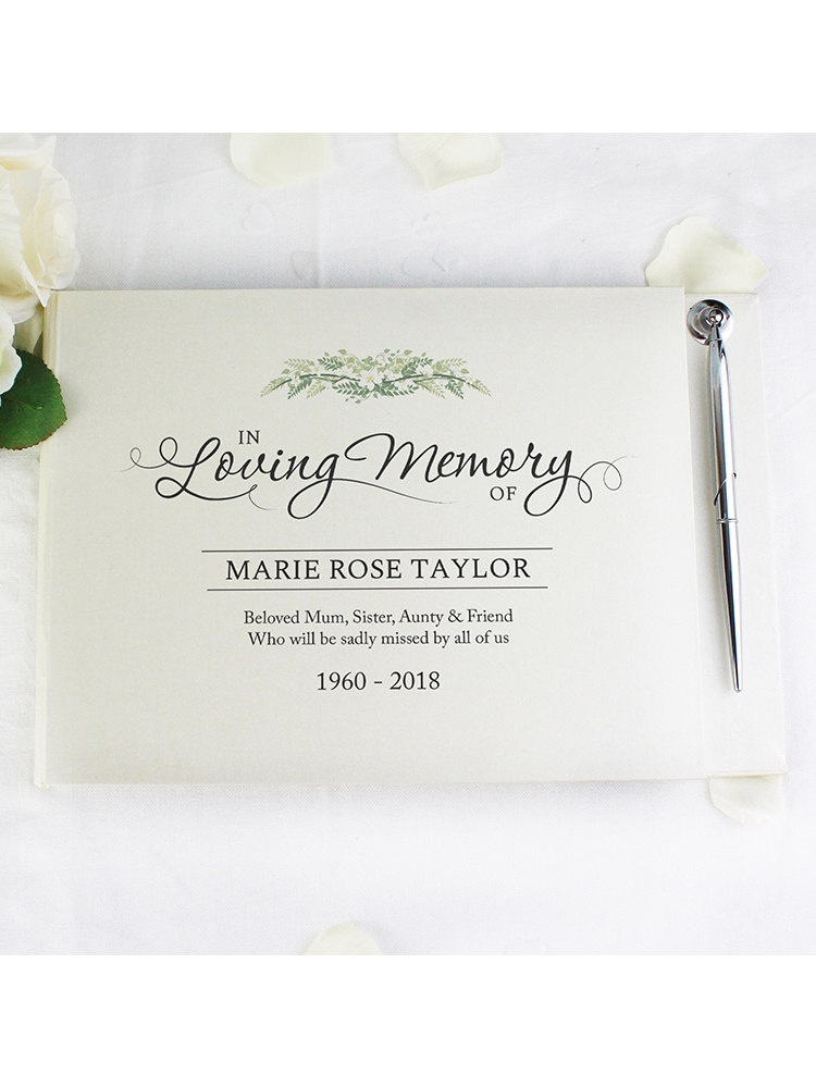 Personalised In Loving Memory Hardback Guest Book & Pen