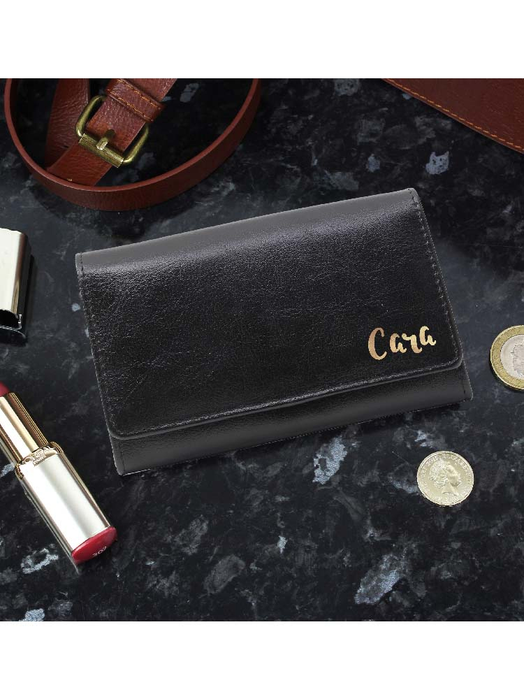 Personalised Gold Name Black Purse