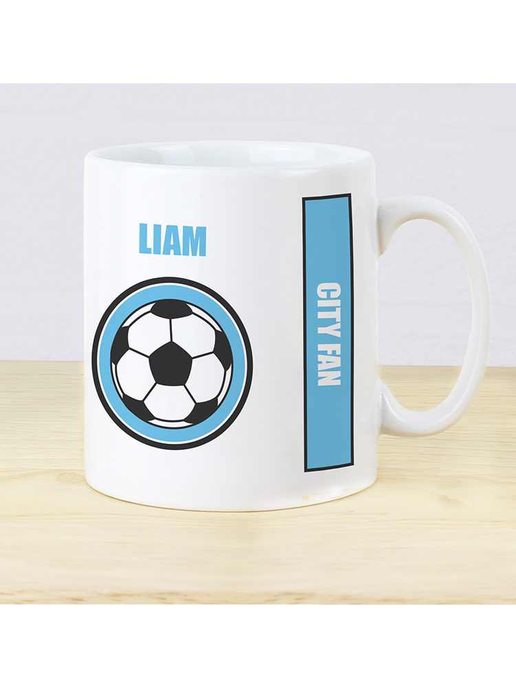 Personalised Sky Blue Football Fan Mug