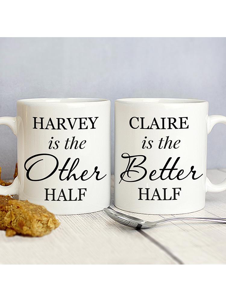 Personalised Other Half and Better Half Mug Set