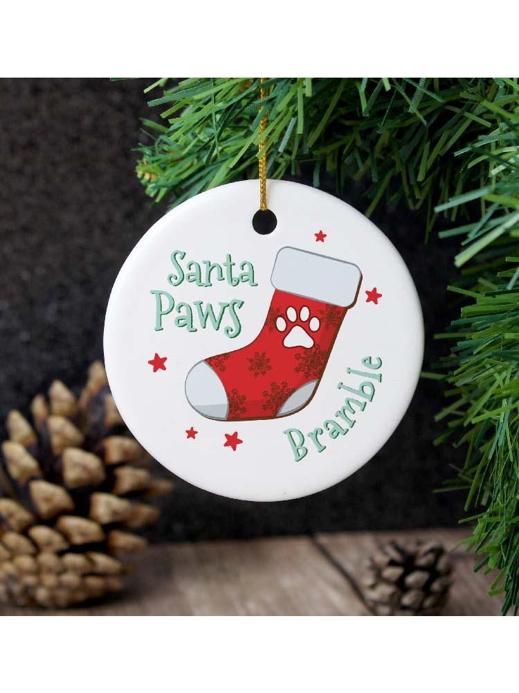 Personalised Santa Paws Round Ceramic Decoration