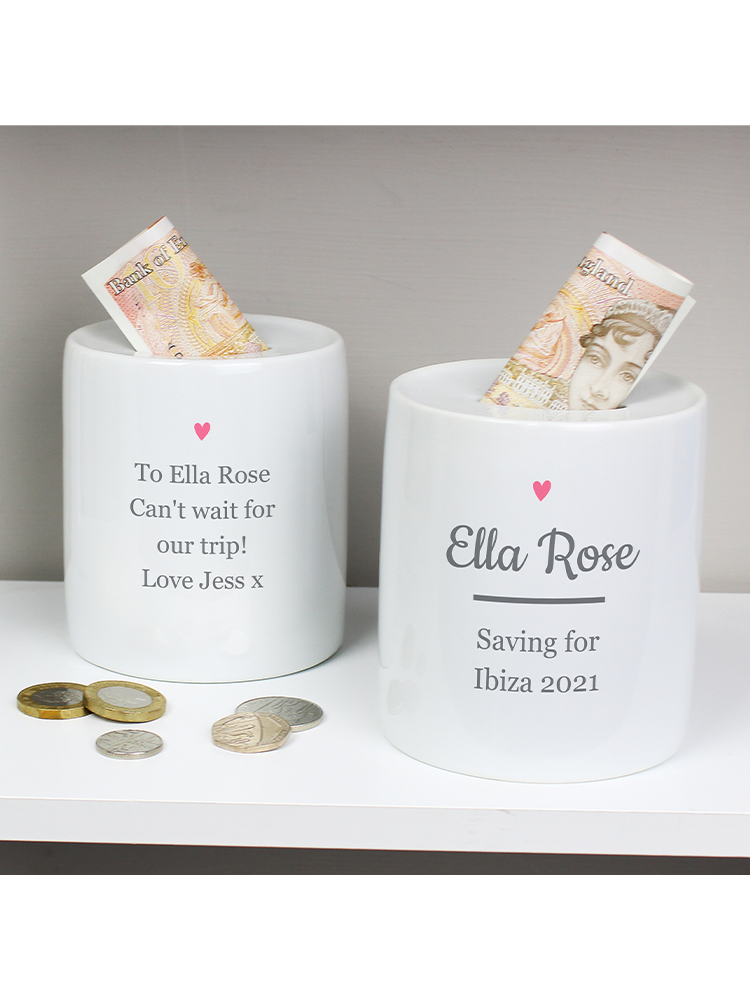 Personalised Pink Heart Motif Ceramic Money Box