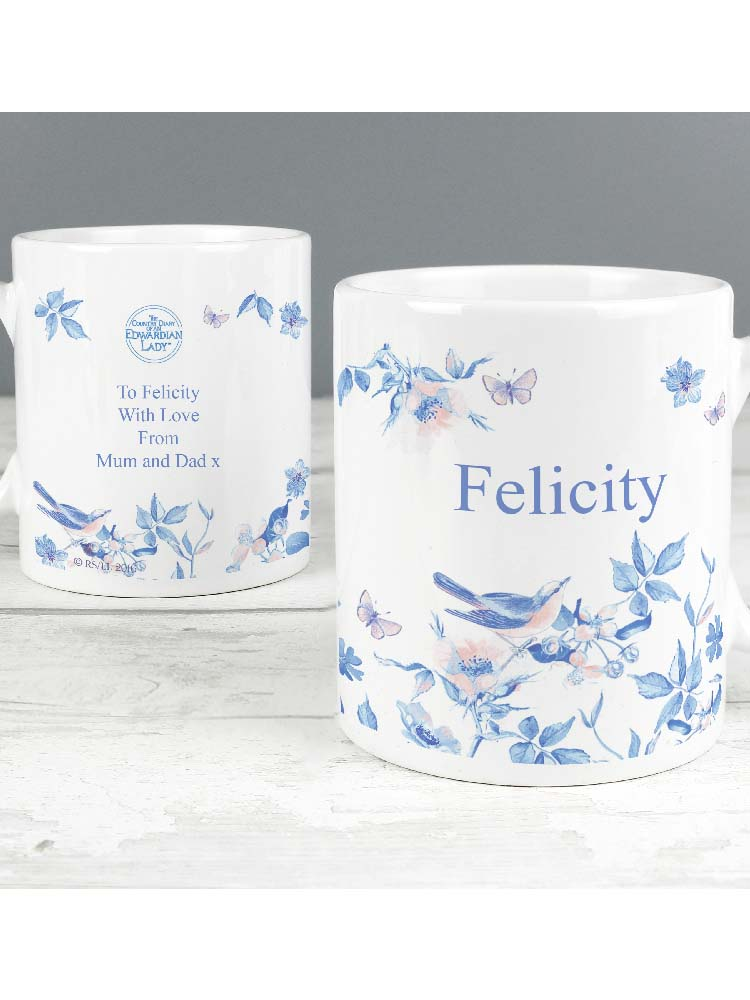 Personalised Country Diary Blue Blossom Mug