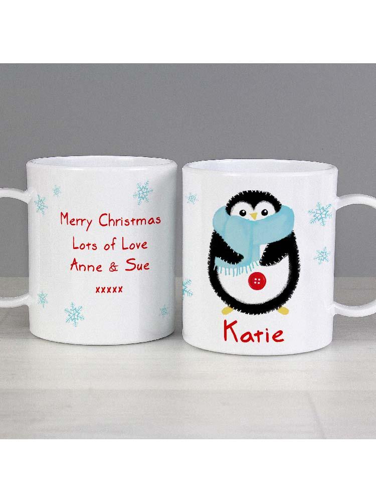 Personalised Felt Stitch Penguin Plastic Mug