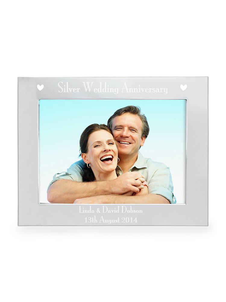 """Personalised  Silver Anniversary 7""""x5"""" Landscape Photo Frame"""