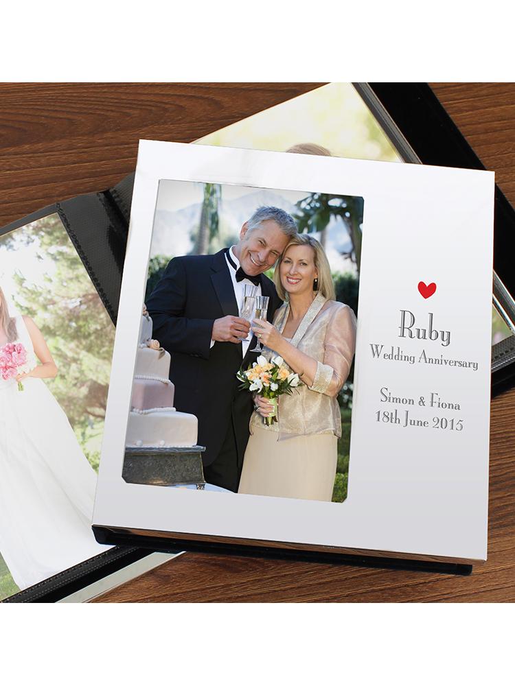 "Personalised Decorative Ruby Anniversary 6""x4"" Photo Frame Album"
