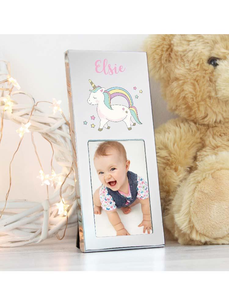 """Personalised  Baby Unicorn 3""""x2"""" Photo Frame"""