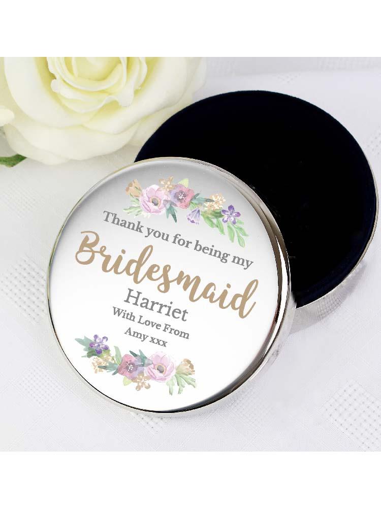Personalised Bridesmaid 'Floral Watercolour Wedding' Round Trinket Box