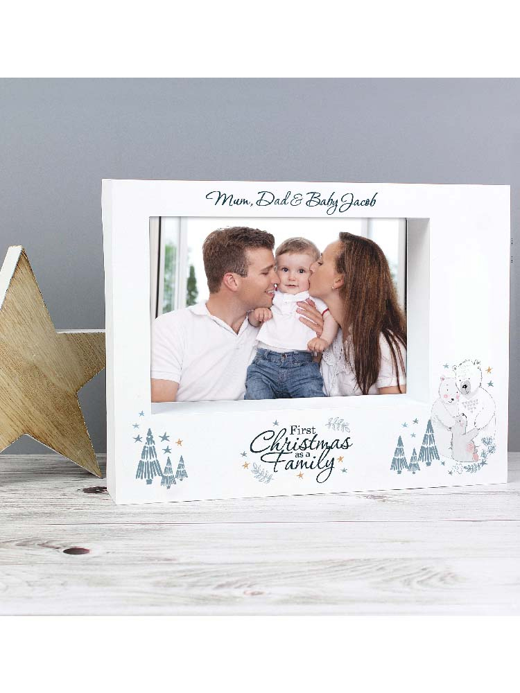 Personalised Polar Bear '1st Christmas As A Family' 7x5 Box Photo Frame