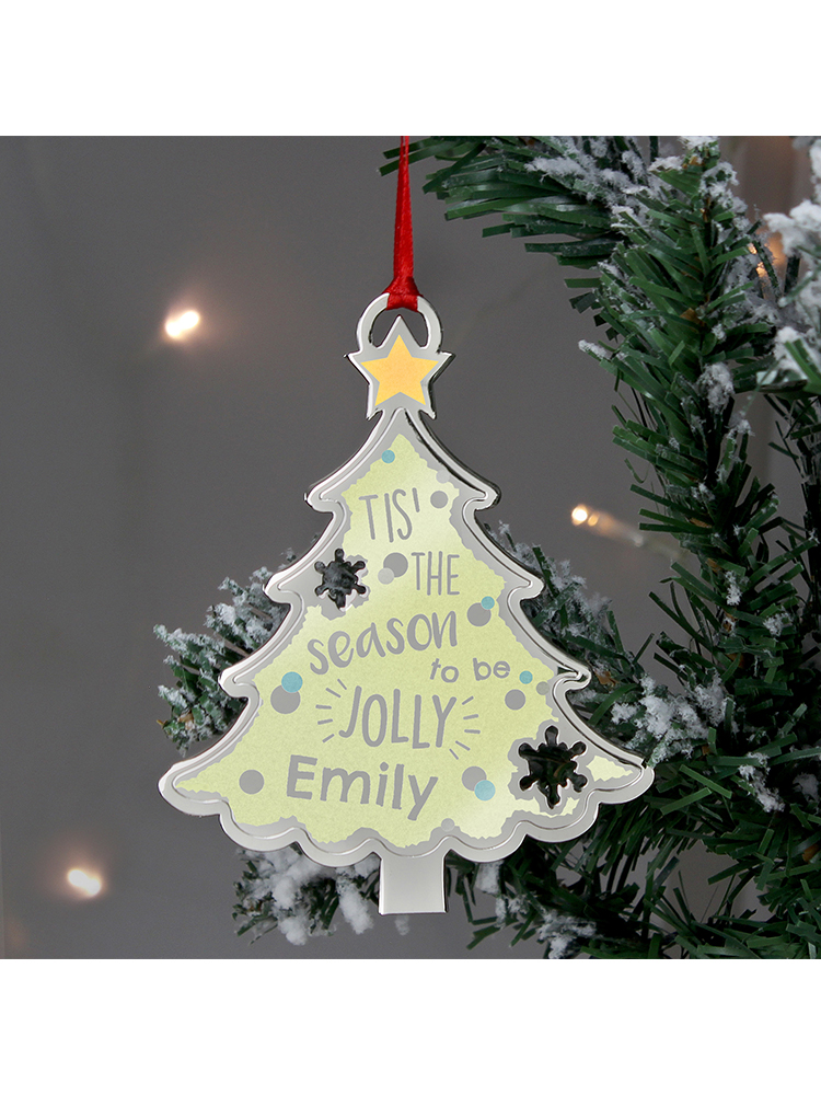 Personalised Tis' The Season To Be Jolly Tree Metal Decoration