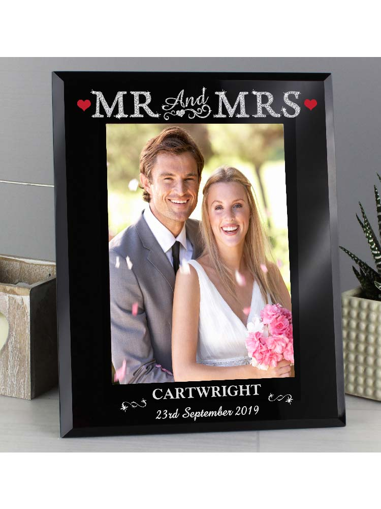 Personalised Bling Mr & Mrs Black Glass 5x7 Photo Frame