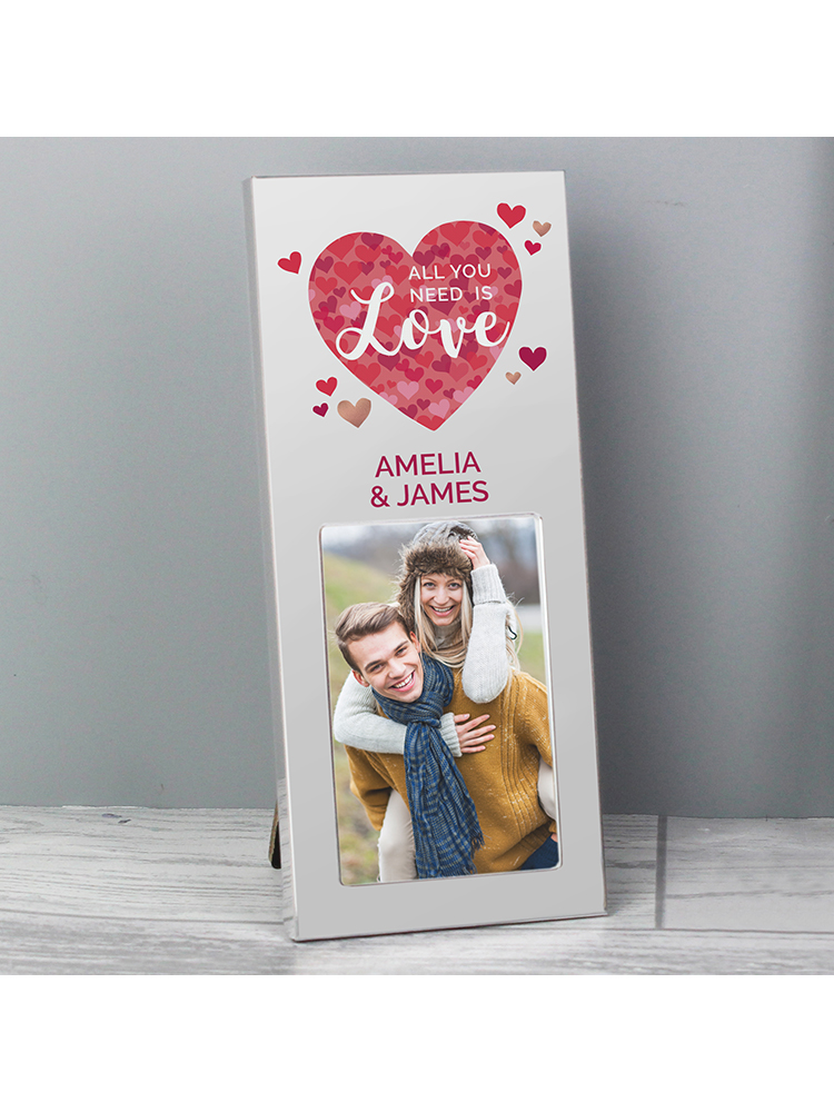 """Personalised 'All You Need is Love' Confetti Hearts 3""""x2"""" Photo Frame"""