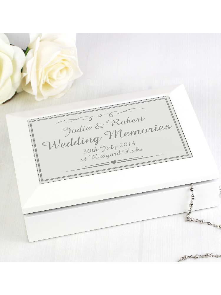 Personalised Silver Elegant Wooden Jewellery Box