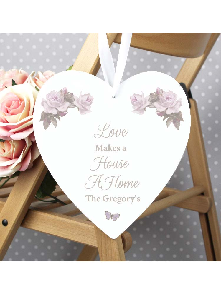Personalised Vintage Floral 22cm Large Wooden Heart Decoration